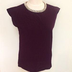 Purple jeweled rhinestone pearl color silk top
